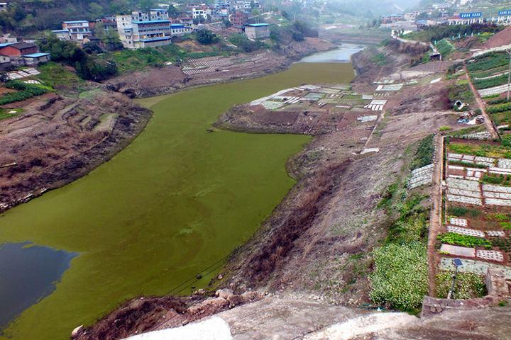 Загрязнение реки Янцзы предприятиями, фото